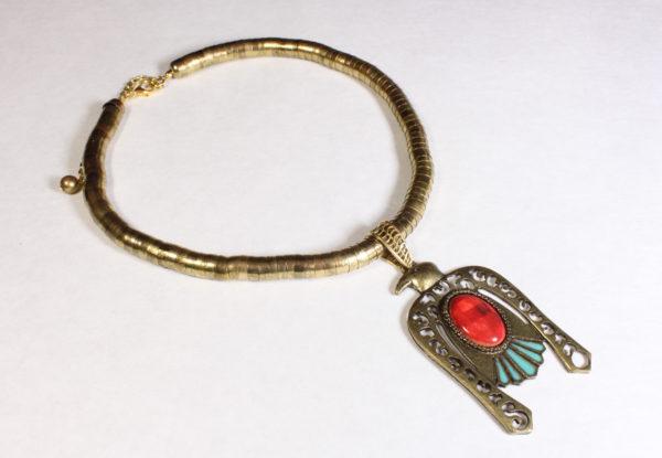 Vintage Pendant - brass Ancient Egyptian hawk