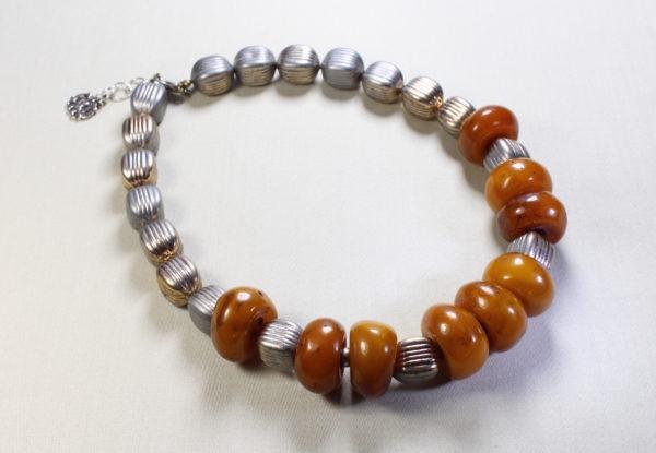 Necklace Antique tibetan amber, bronze/silver acrylic