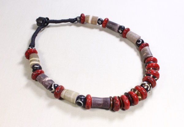 Necklace antique Tibetan coral, bone & sea urchin