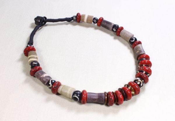 Necklace antique Tibetan coral, bone & sea urchin