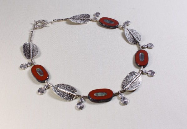 Necklace Czech oval Picasso glass & flat silver beads