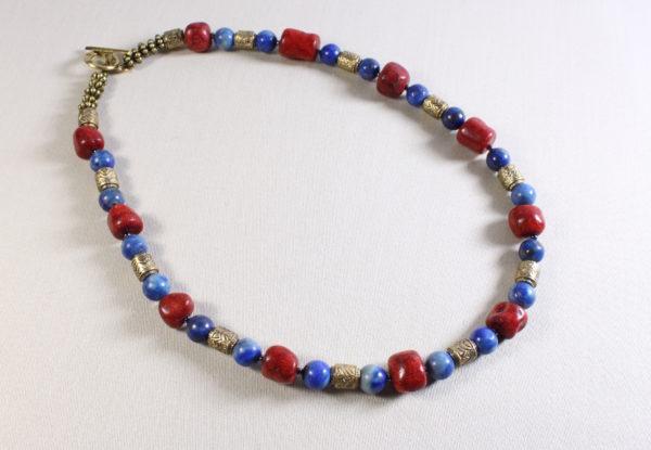 Necklace coral lapis lazuli decorative brass