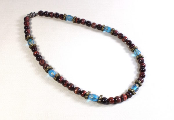 Necklace red tiger eye & blue Czech glass