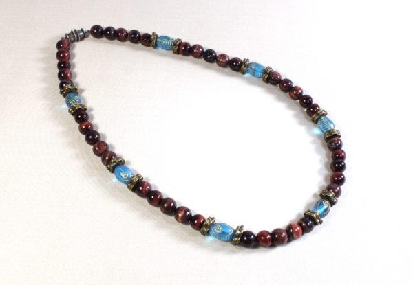 Necklace red tiger eye & blue Czech glass