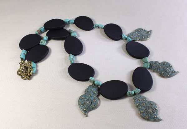 Necklace Oval Black Acrylic & Blue Patina Drops