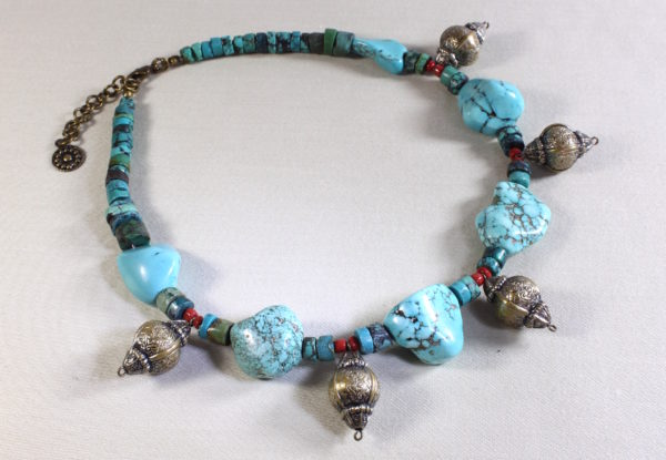 Necklace Turquoise & Antique-Silver Lantern Beads